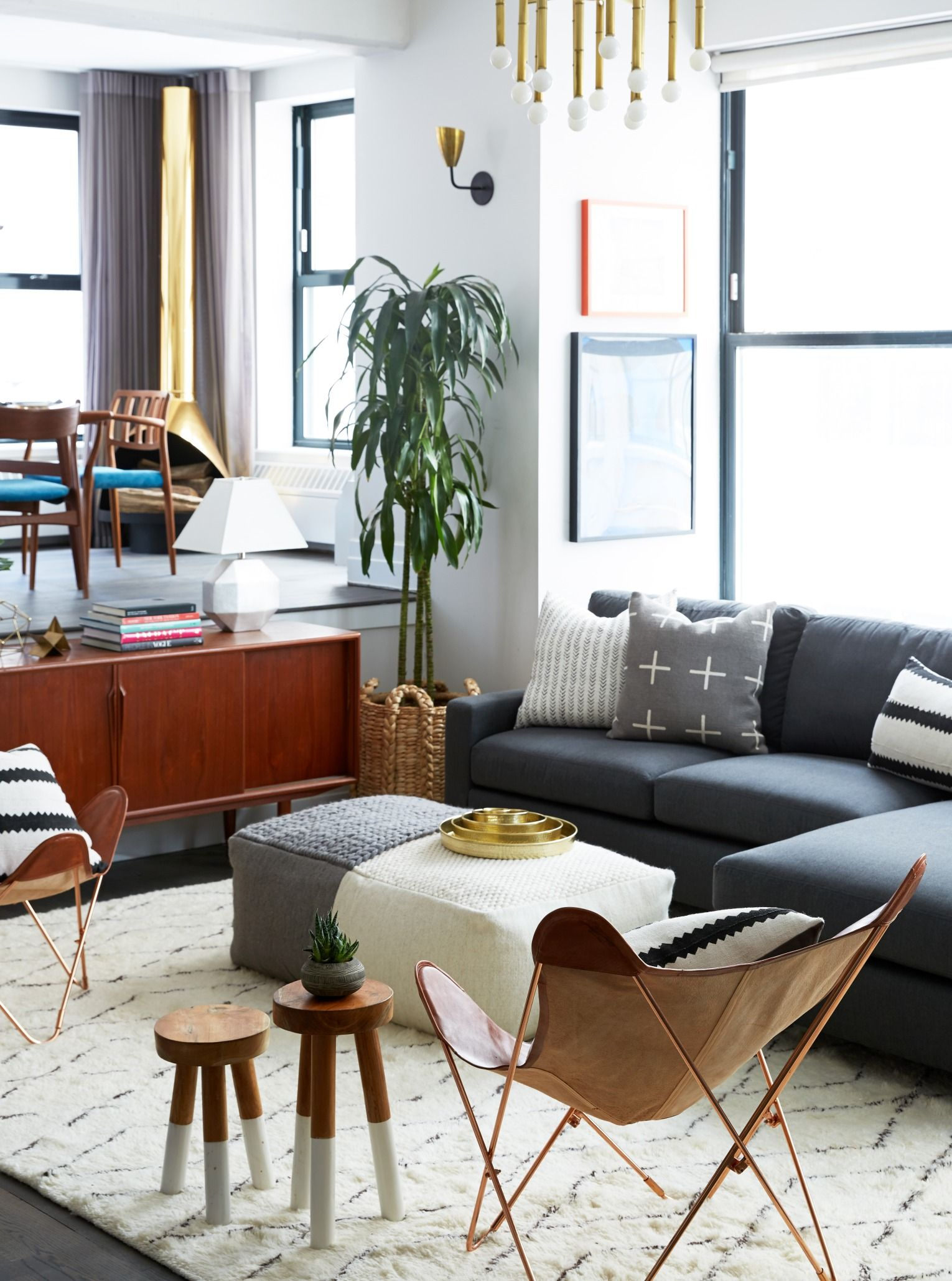 Love The Colorful Mix Of Midcentury Furniture And Globally Inspired Accents In Rebecca Minkoff S Brooklyn Loft Living Room