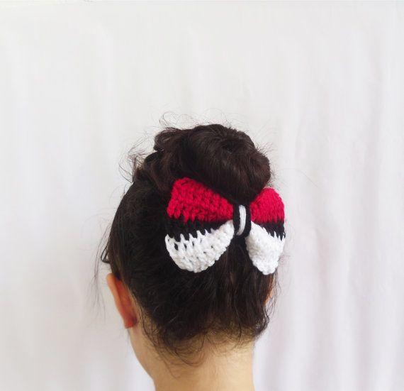 Hipster geek gamer girl crochet bun pokeball bow for pokemon lovers ...