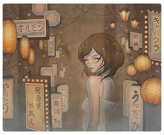 """Saying Goodbye""  oil and graphite on wood 26""x21""  Space Yui in Tokyo  2009  by Audrey Kawasaki"