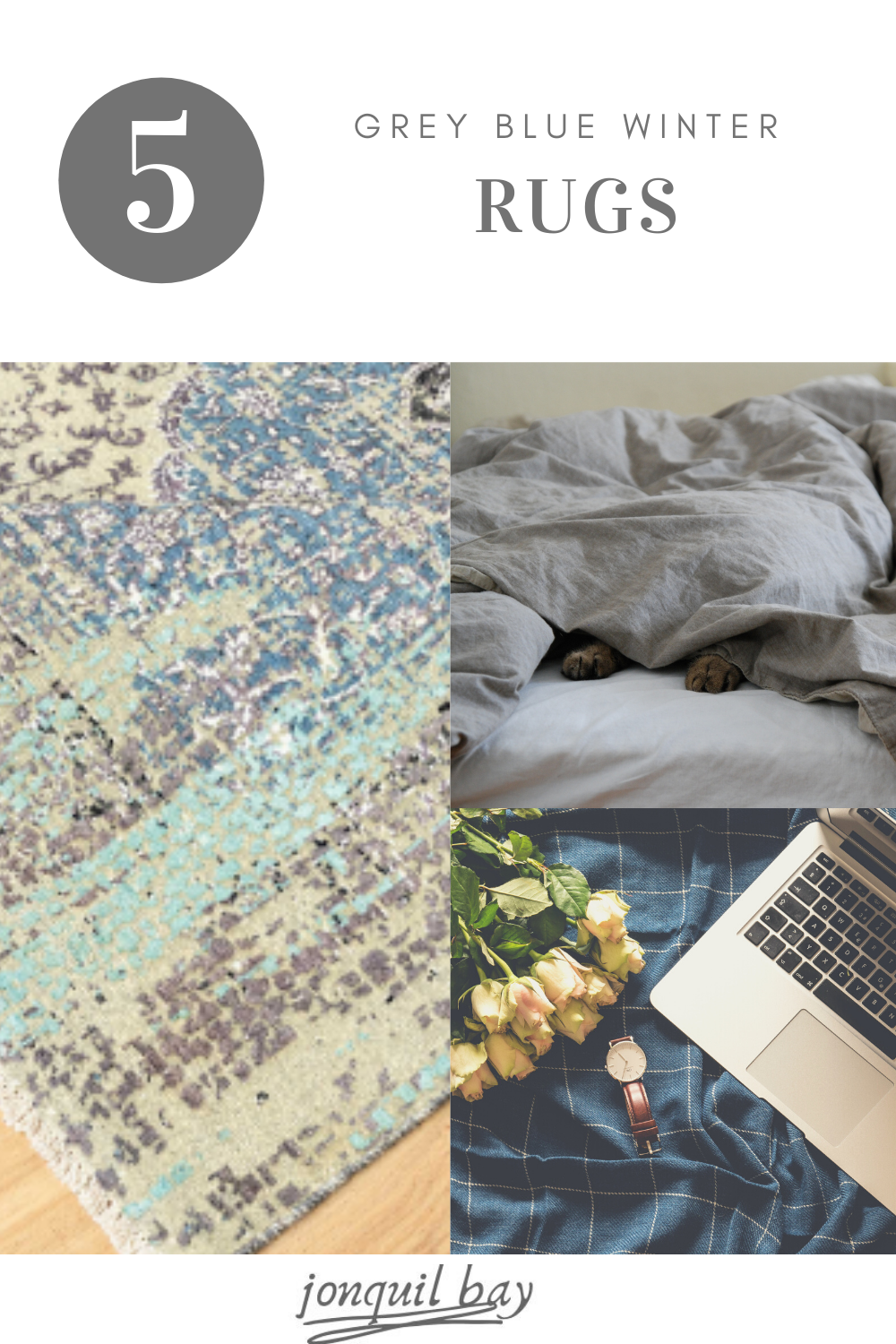 Looking for rugs to round up your winter deocr. Check out these 5 hand-kotted rugs to add finish your look and make your space a winter wonderland! #winterdecor #holidaydecor #bluedecor #greydecor #decorideas #livingroomdecor #cozydecor #bedroomdecor