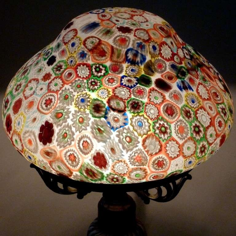 Fratelli Toso Murano Millefiori Flower Mosaic Italian Art Glass Table Lamp Art Glass Table Lamp Glass Art Mosaic Flowers
