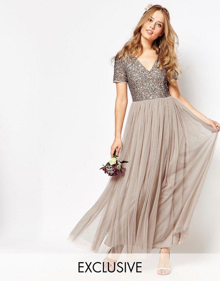 d5d0b398f7d59 Maya V Neck Maxi Tulle Dress with Tonal Delicate Sequins