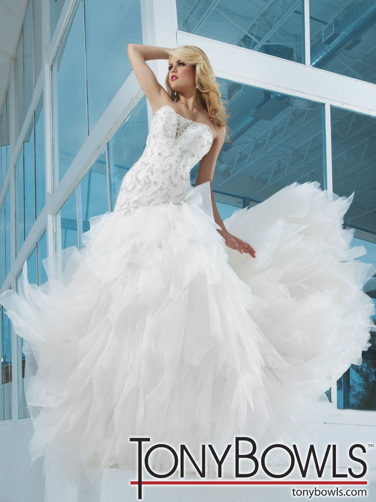 Strapless organza and lace ball gown dramatic deep sweetheart