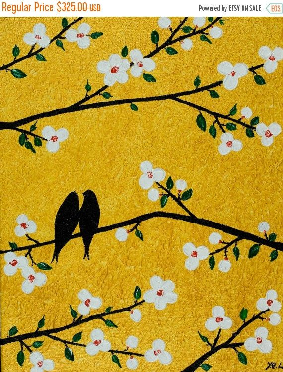 Contemporary wall art Gold white flowers art love Birds on tree ...
