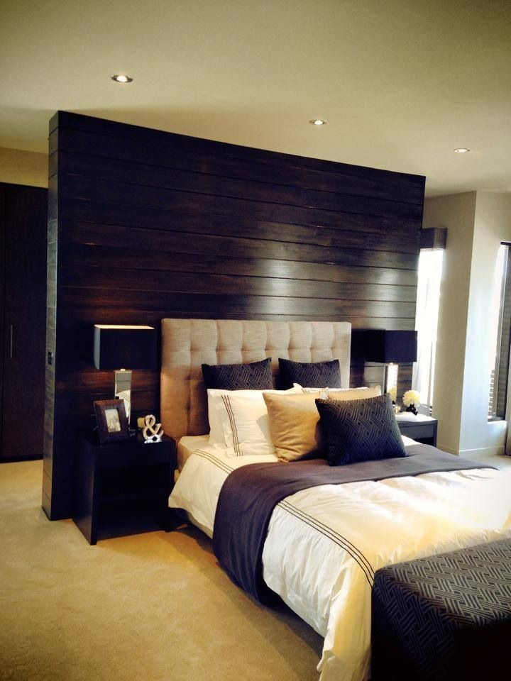 Beautiful bedroom love the timber feature wall behind the for Bedroom feature wallpaper
