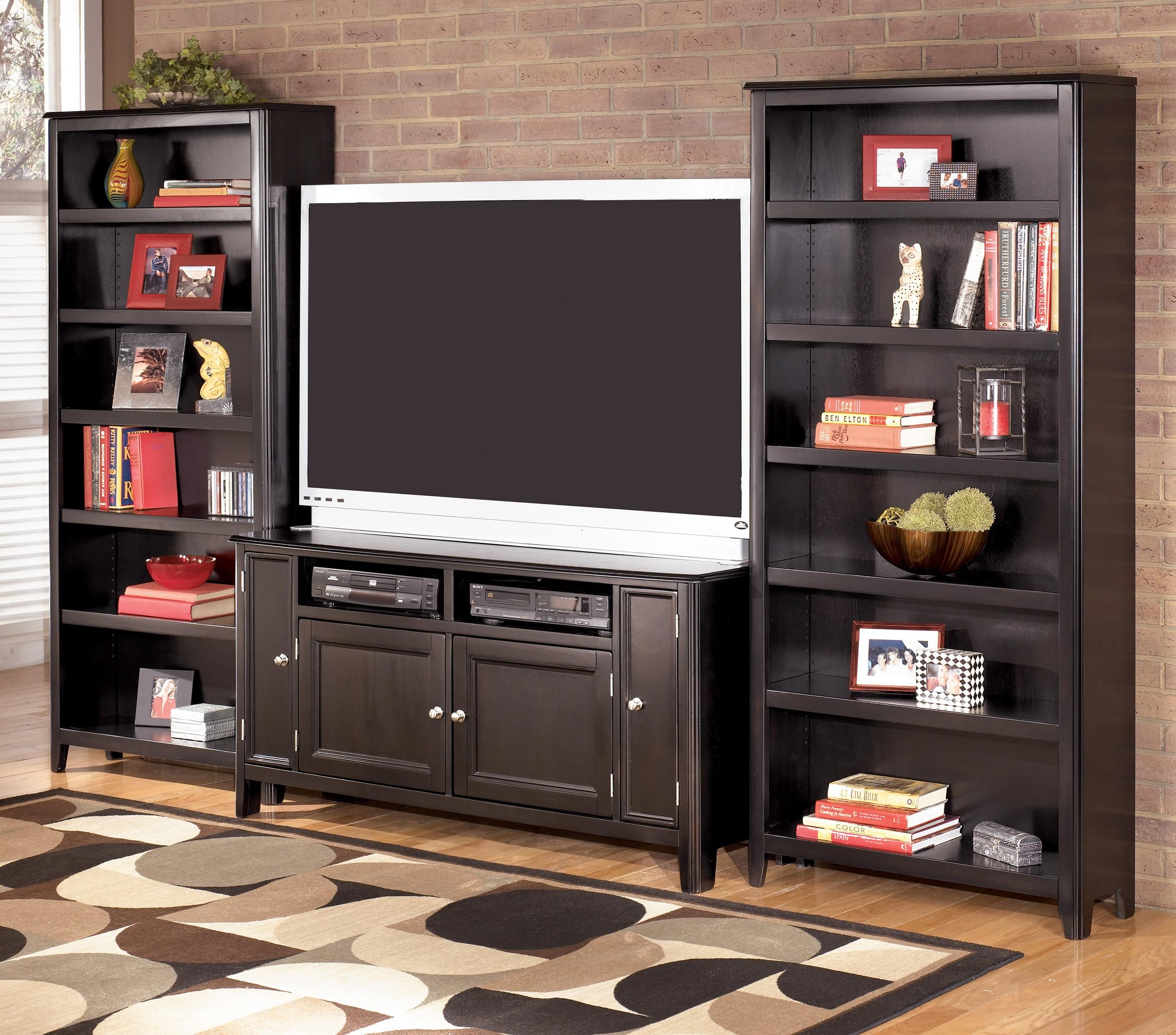 Signature Design By Ashley Carlyle 60 Inch TV Stand U0026 2 Large Bookcases