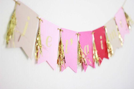 ombre paper bunting + gold lettering + fringe