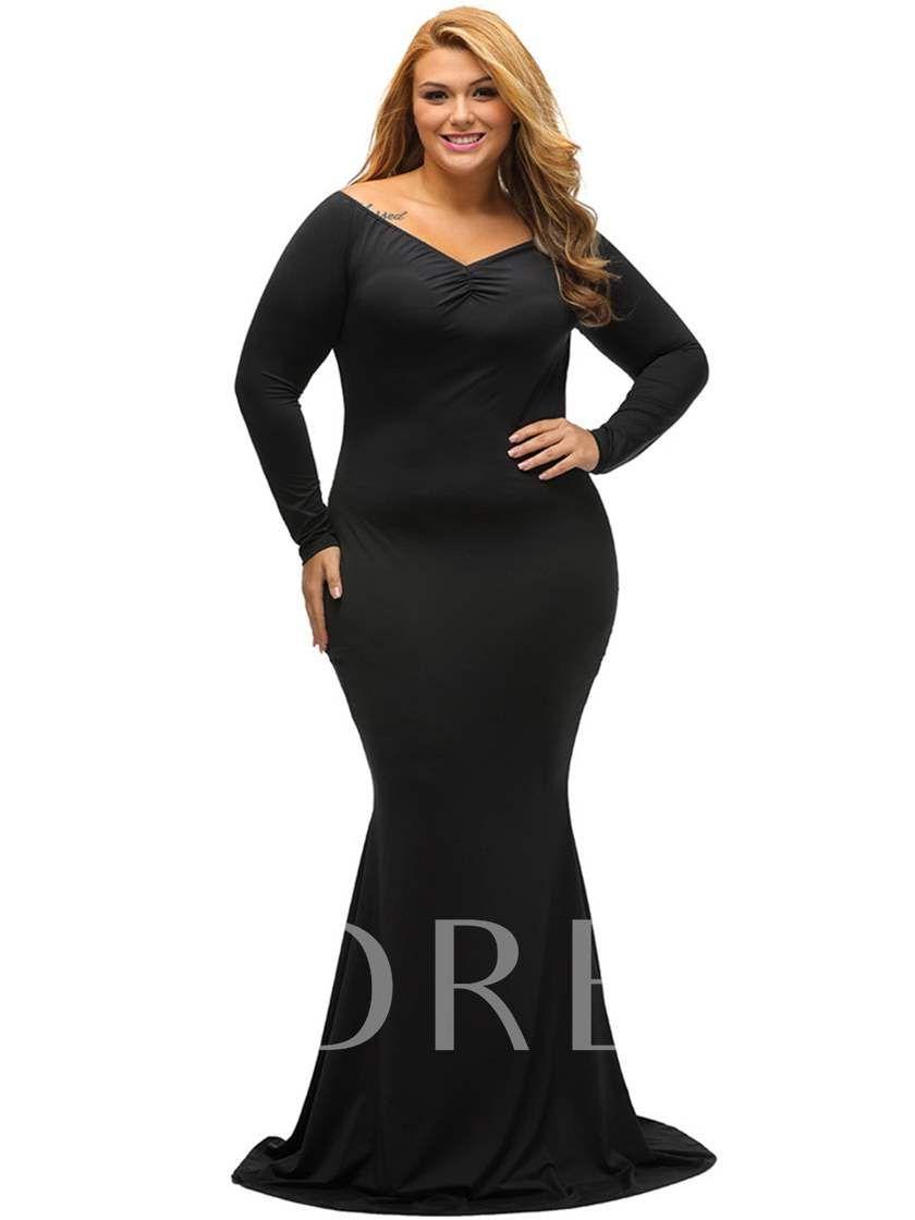 dd53315e9e66 Open Shoulder Mermaid Plus Size Long Sleeve Women's Maxi Dress in ...