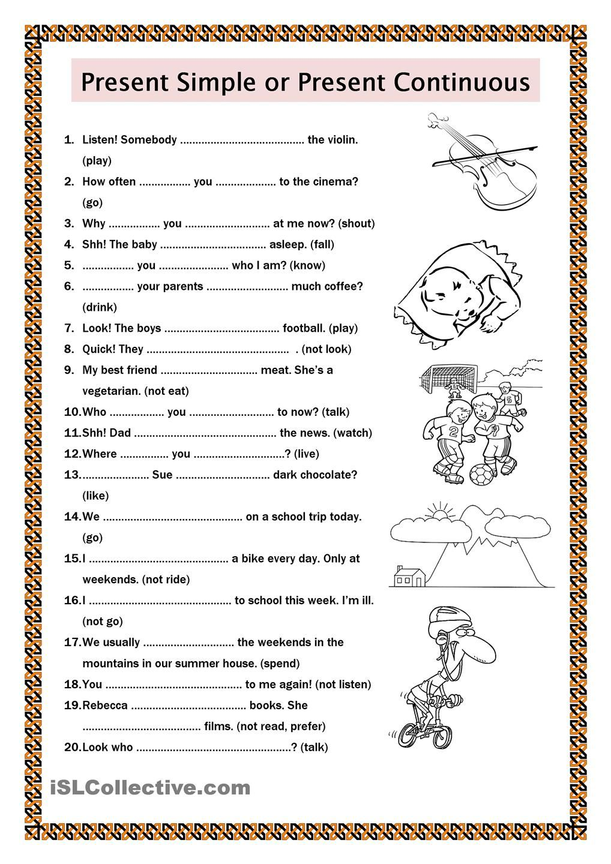 Easy Esl Worksheets : Present simple or continuous esl worksheets of