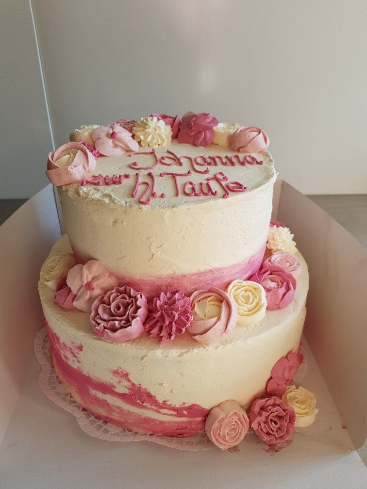 Tauftorte Madchen Ohne Fondant Buttercremeblumen Rosa Christening Cake Girl Buttercreamflowers Taufe Kuchen Torte Konfirmation Taufe Kuchen Madchen