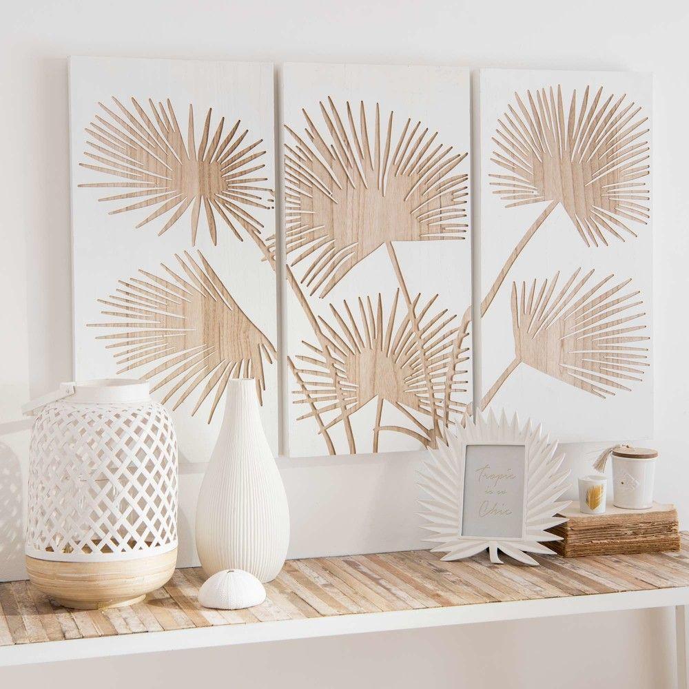 Tableau Triptyque En Paulownia Sculpte 90x60 Maisons Du Monde Tableau Deco Salon Idee Deco Chambre Ado Tableaux Deco