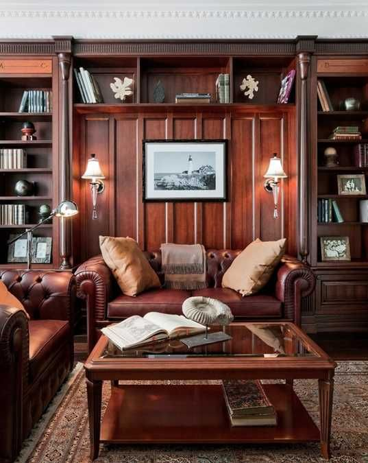 Vintage Home Office Design Ideas For Men Leather Sofa Enterny Vintage Home Offices Home Office Design House Interior