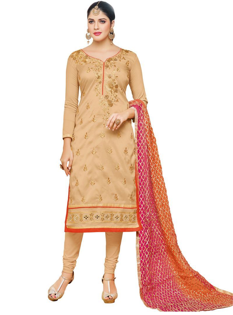 6191d1bdcc Izabelle Leite Beige Taffeta Silk Churidar Salwar Suit 93050 | Suit ...