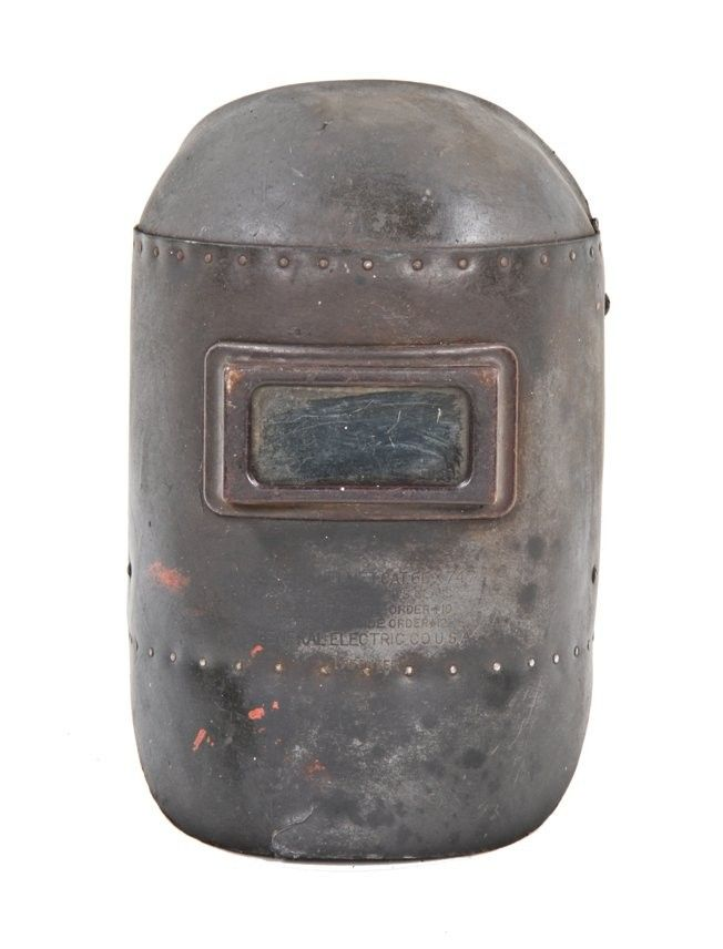 4d8905cb18bb4 Urban Remains Chicago    early 1940 s vintage american industrial riveted  joint general electric welding helmet or mask with pivoting head guard