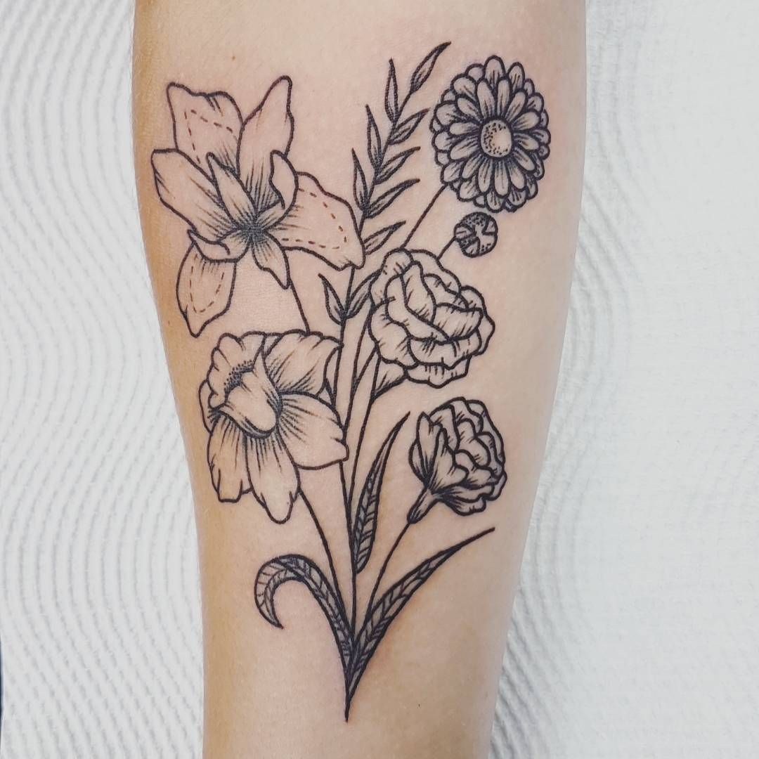 A Bunch Of Birth Flowers For A First Tattoo Yesterday Daffodil Carnations Iris And An Aster Flo Birth Flower Tattoos Iris Flower Tattoo Aster Flower Tattoos