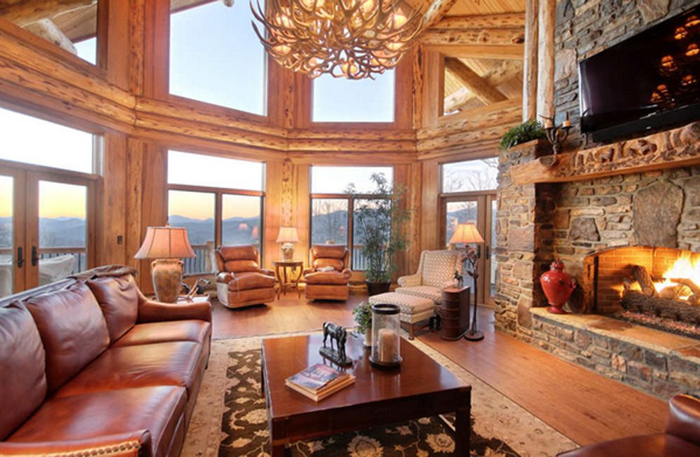 Good Rustic North Georgia House In Mountain Cabin Living Room Decor Stone  Wall Fireplace Accent Arm