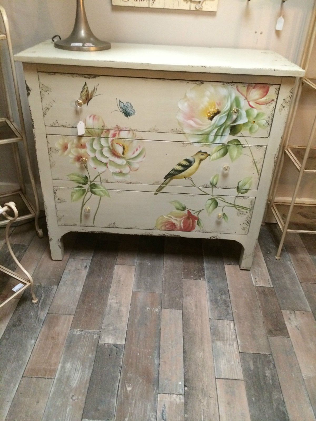 Shabby Chic Aged Cream Wood Painted Bird Butterfly Chest