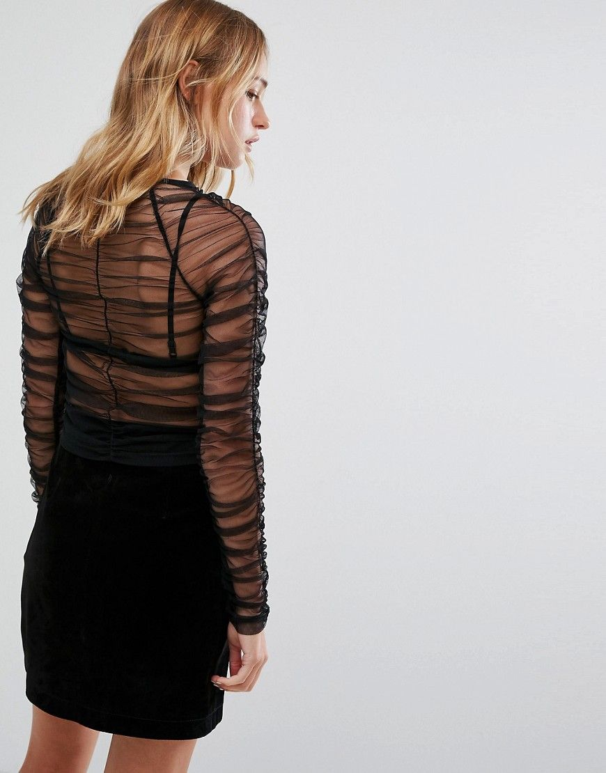 Monki ruffle long sleeve mesh top black products