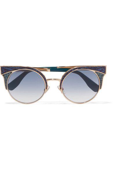 2eea7cec3276 JIMMY CHOO Ora cat-eye glittered leather and gold-tone sunglasses.   jimmychoo  sunglasses