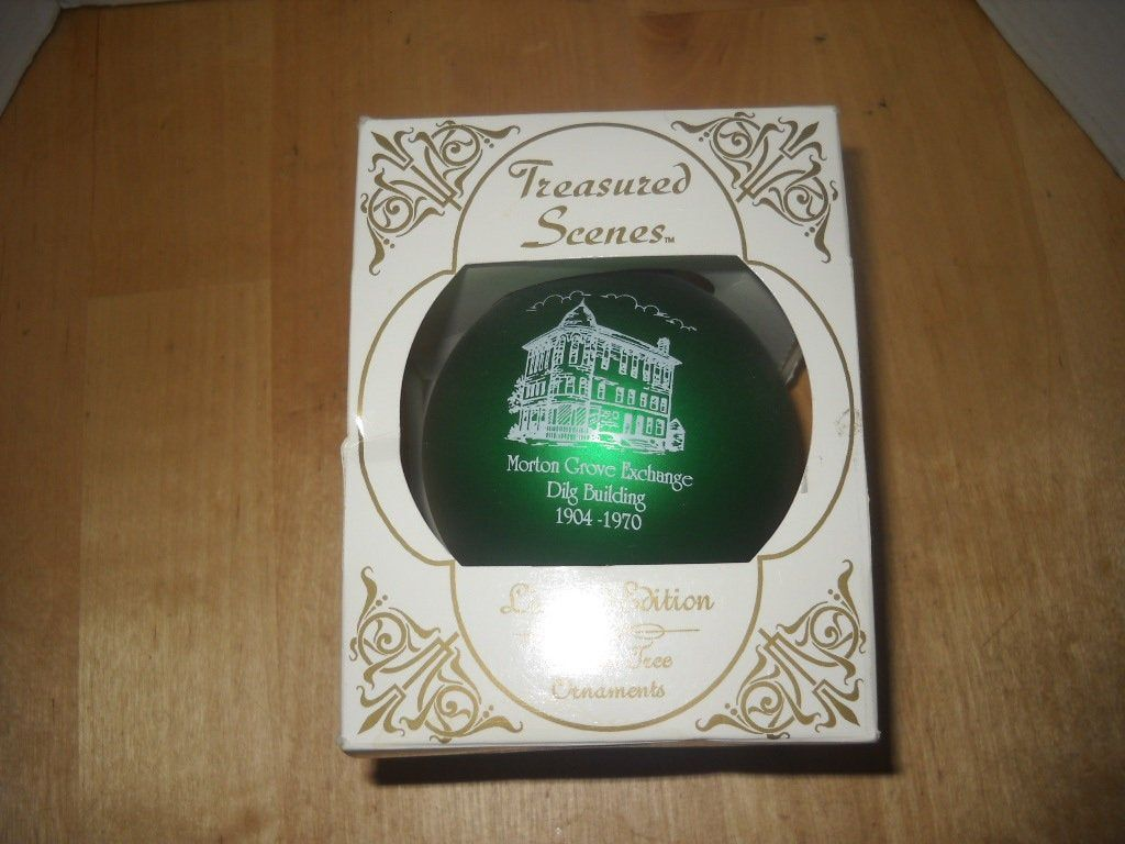Morton Grove Illinois Historical Society large ball Christmas ornament green Dilg Building Exchange original box 3 diameter ltd ed 1999 #mortongrove Morton Grove Illinois Historical Society large ball Christmas ornament green Dilg Building Exchange original box 3 diameter ltd ed 1999 by BlakeVintageShop on Etsy #mortongrove