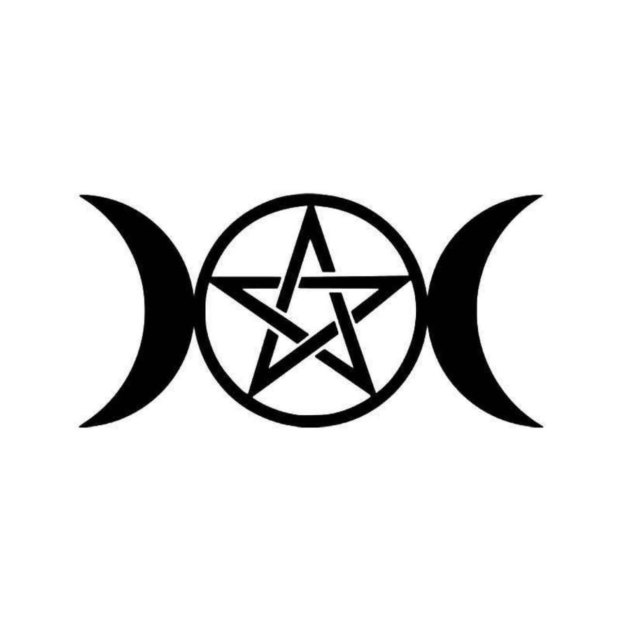 Triple Moon Goddess Wicca Pentacle Pagan Symbol Vinyl