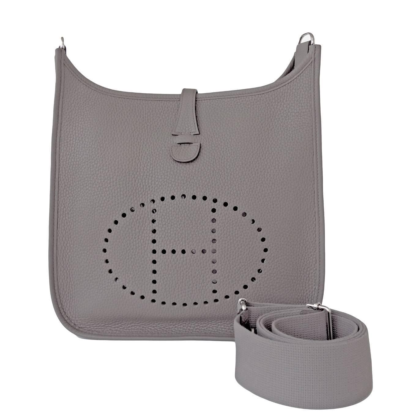 f091daba246c Hermes Etain Evelyne Tin Grey Gray PM Clemence Messenger Leather Bag