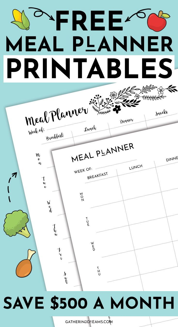 4 Meal Planner Templates To Save 500/m [Free Download
