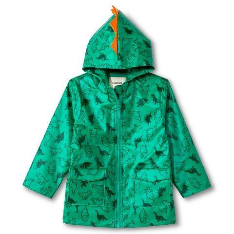 Toddler Boys' Dinosaur Print Rain Coat with Hood Green - Cherokee™