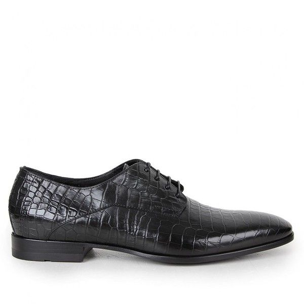 2752f36252e4 Hugo Boss Black Mens Black Florco Moc Croc Leather Shoes found on Polyvore  featuring polyvore
