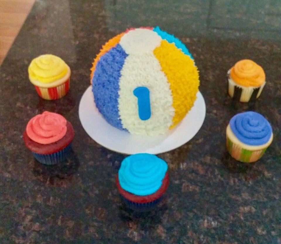 Cool Beach Ball Smash Cake With Cupcakes With Images Smash Cake Boy Birthday Cards Printable Benkemecafe Filternl