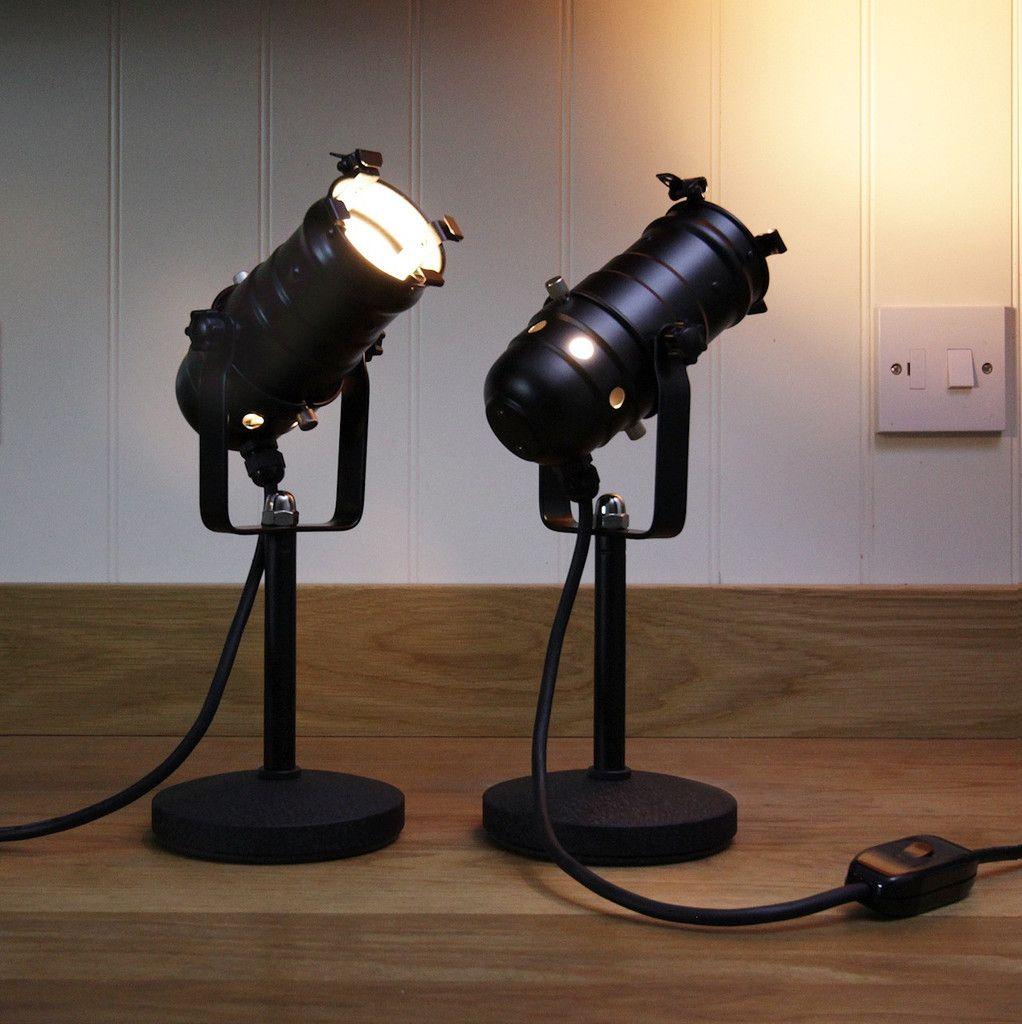Retro Theatre Mini Table Bedside Spotlight Lamps Black