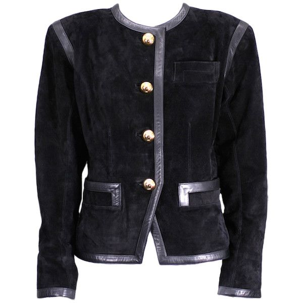 Pre-owned Yves Saint Laurent Black Suede and Calf Jacket ($950) ❤ liked on Polyvore featuring outerwear, jackets, single-breasted jackets, vintage suede jacket, vintage black jacket, yves saint laurent, shiny jacket and suede jacket