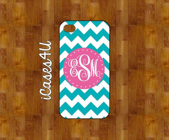 PINK and TEAL CHEVRON - Personalized iPhone case - iPhone 4/5 case - plastic or rubber - Monogram iPhone case on Etsy, $16.99