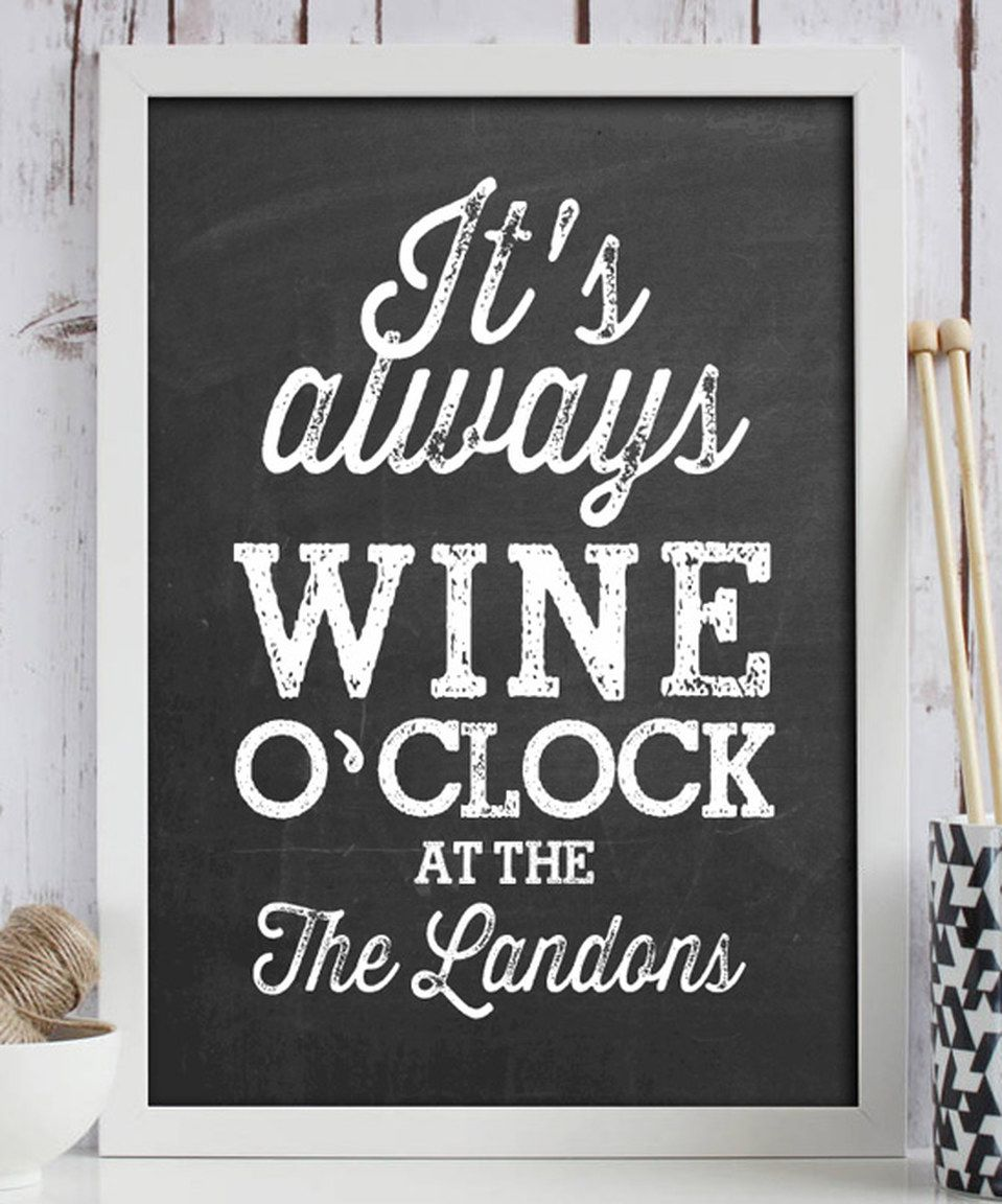 Love this 'Wine O Clock' Personalized Print by Hypolita on #zulily! #zulilyfinds