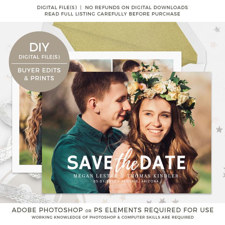 Save The Date Template Instant Download Save The Date Card