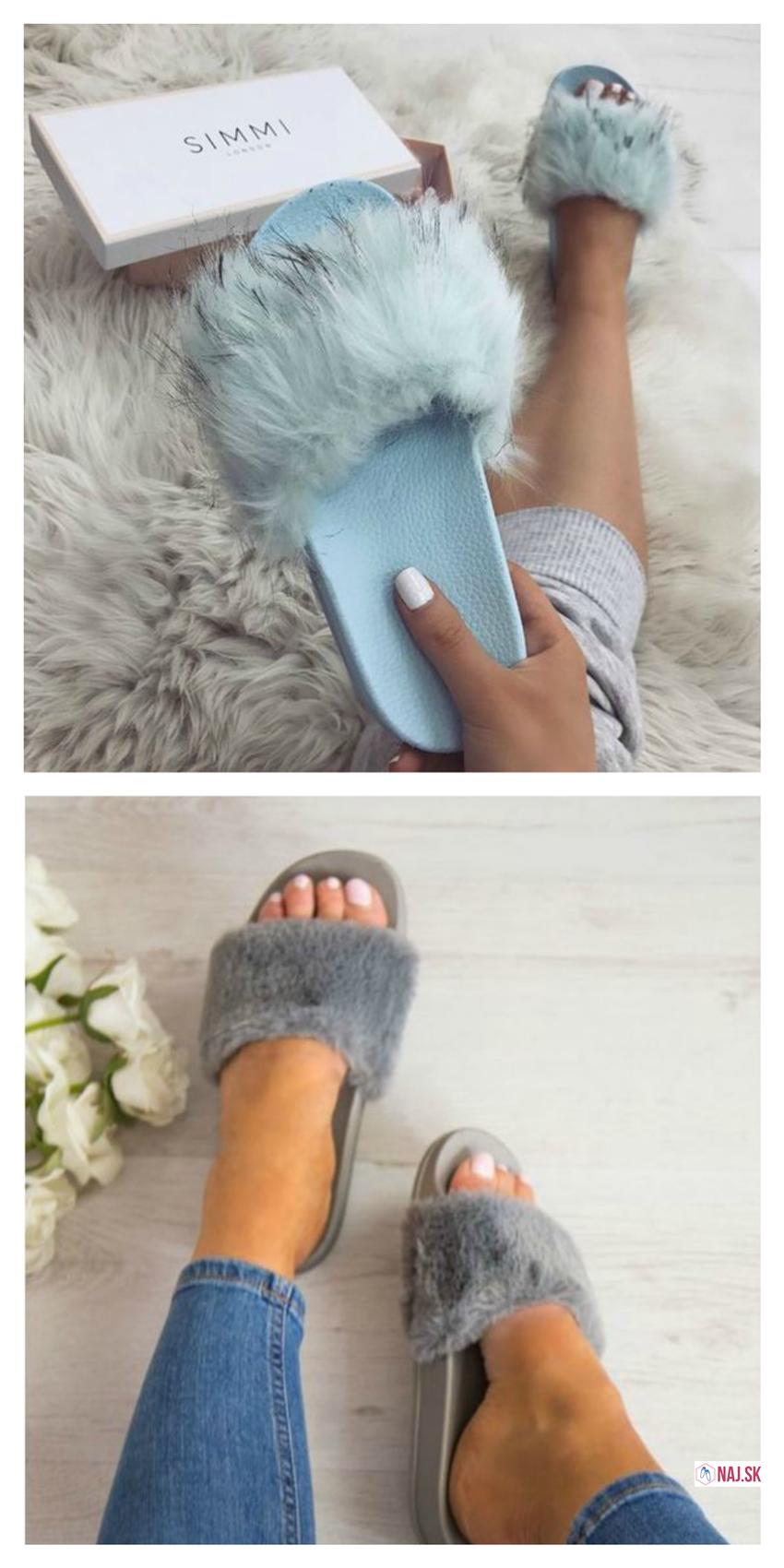 a4a8d41b2b88e papuče, modré papuče, papuče s modrou kožušinou, šľapky s kožušinou, sivé  pohodlné