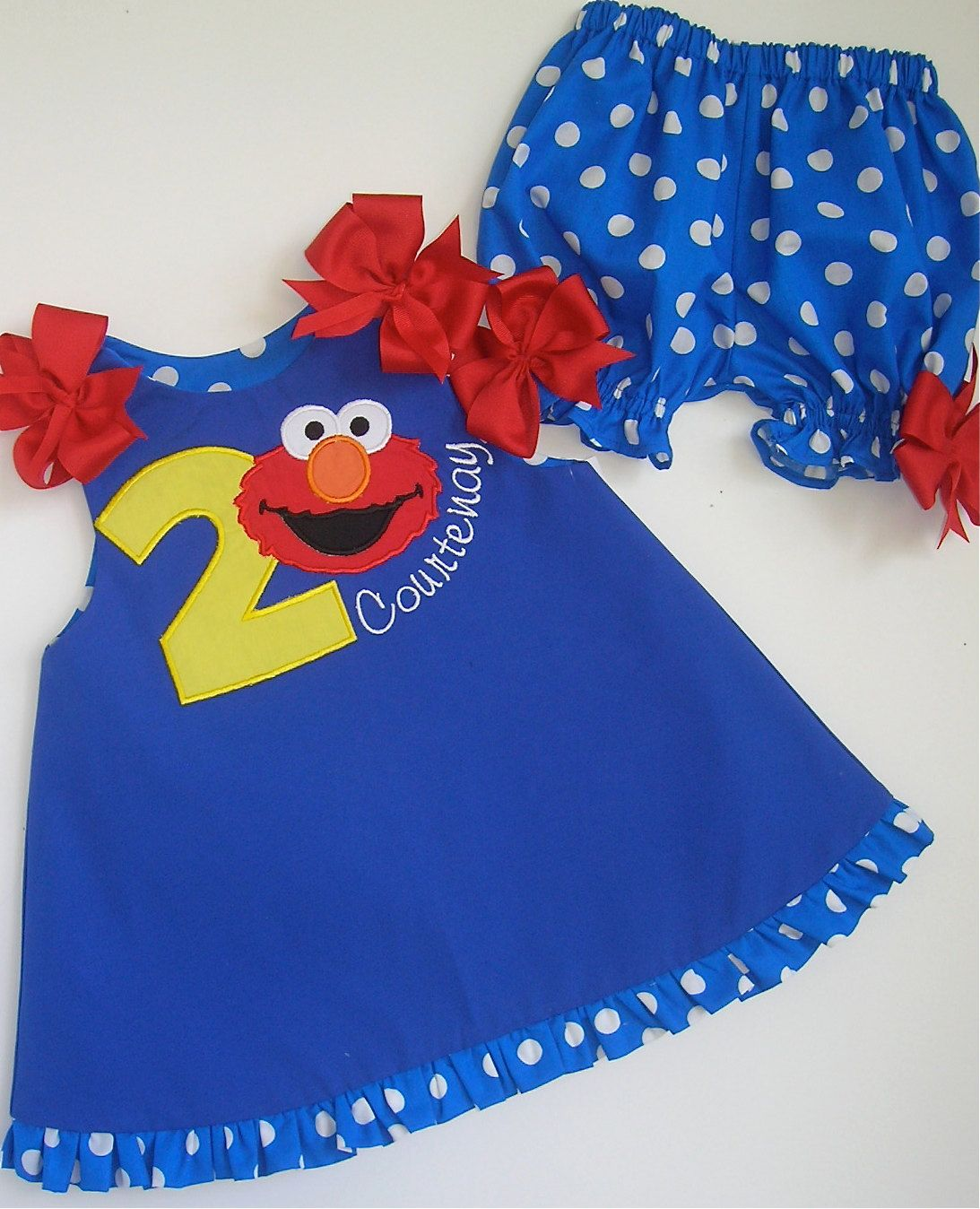 Girls Elmo Birthday Jumper Numbers 1 To 4 And Bloomers