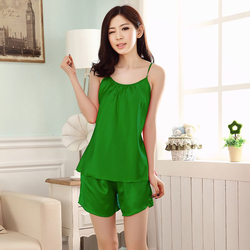 Green Sleepwear Pajama Pajamas Set Robe Gown Set Women Bathrobe ...