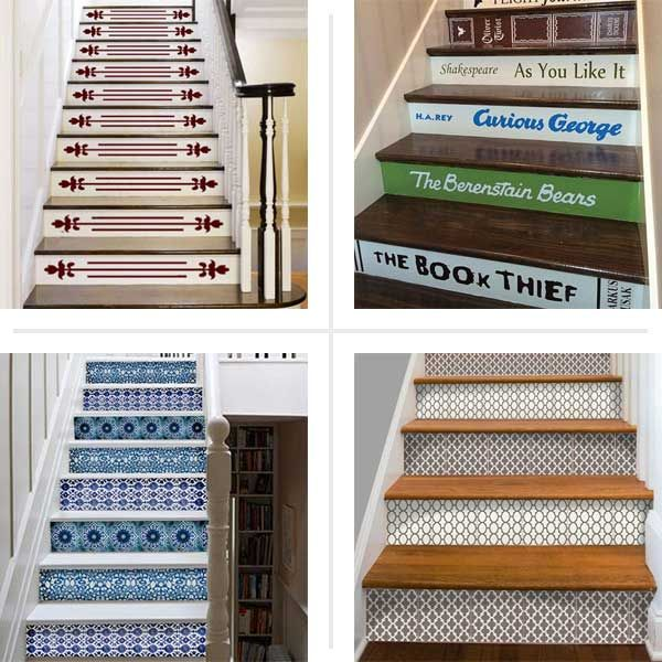 Beautiful Dress Up Stair Risers With Vinyl Decals