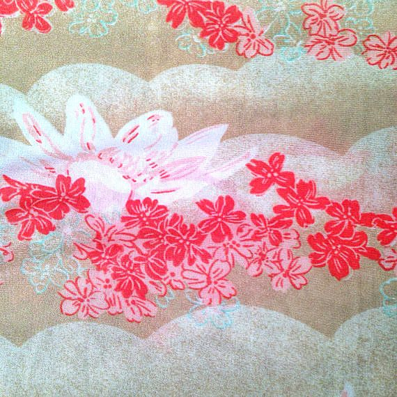 Asian floral butterfly fabric yardage  by whitecottagesupplies, $10.00