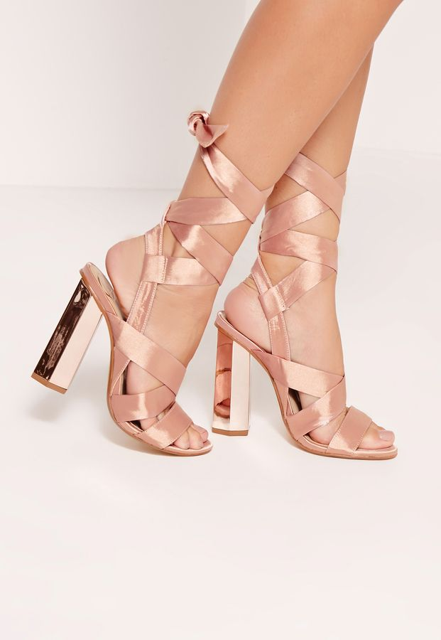 b925ce8fbad1 Block Heel Tie Satin Sandals Rose Gold