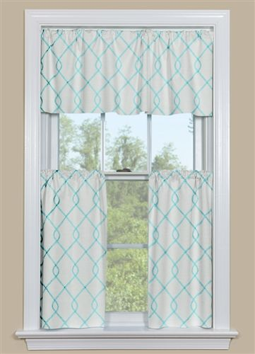 Embroidered Kitchen Curtain Panel In Aqua Blue Yellow Kitchen
