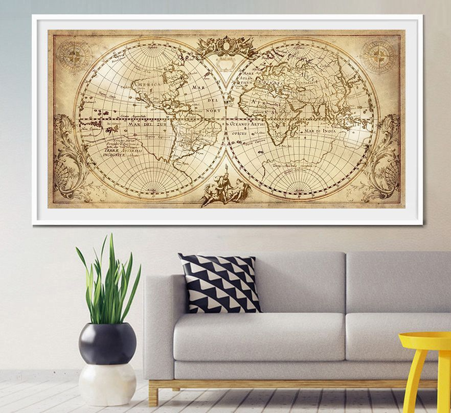 Old World Map Historic Map Antique Style World Map Vintage Map Home ...