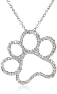 """Silver and Diamond Dog Paw Pendant Necklace (1/20 cttw, I-J Color, I3 Clarity), 18"""": Jewelry"""