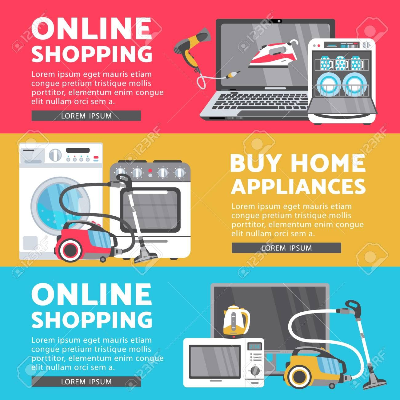 Vector Home Appliance Sale Poster Banner Set Tv Set Plasma Panel Laptop Microwave Oven Dishwasher Gas With Images Home Appliances Sale Appliance Sale Home Appliances