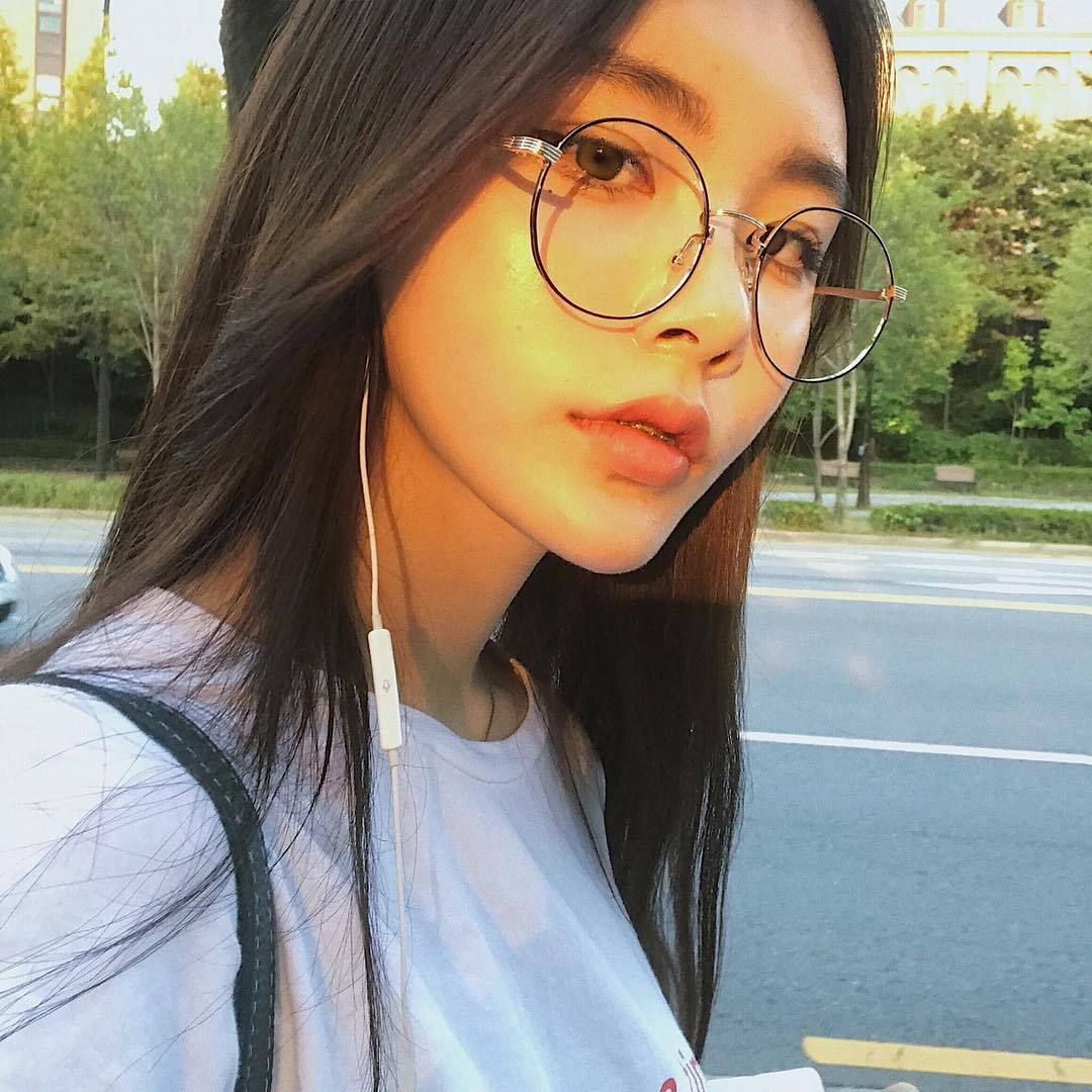 Cute asian women with glasses