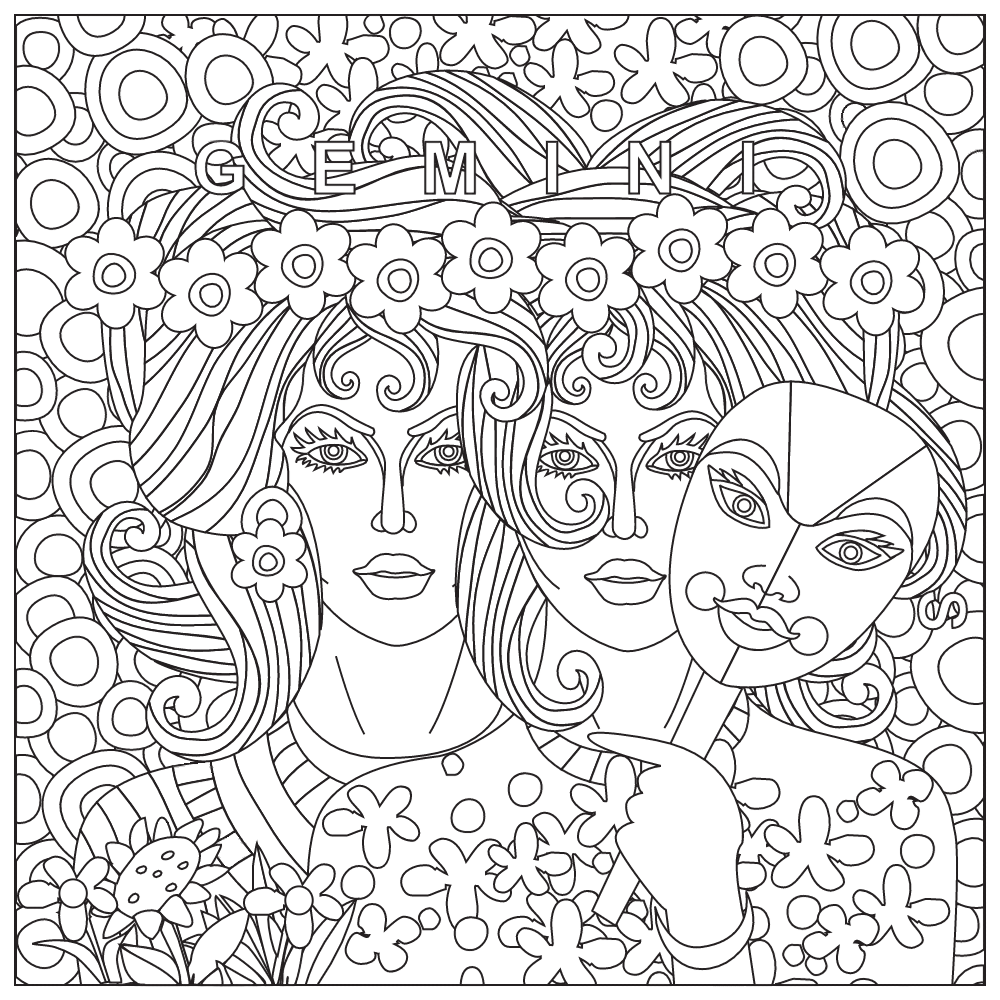 Gemini coloring page Zodiac Coloring Pages for Adults
