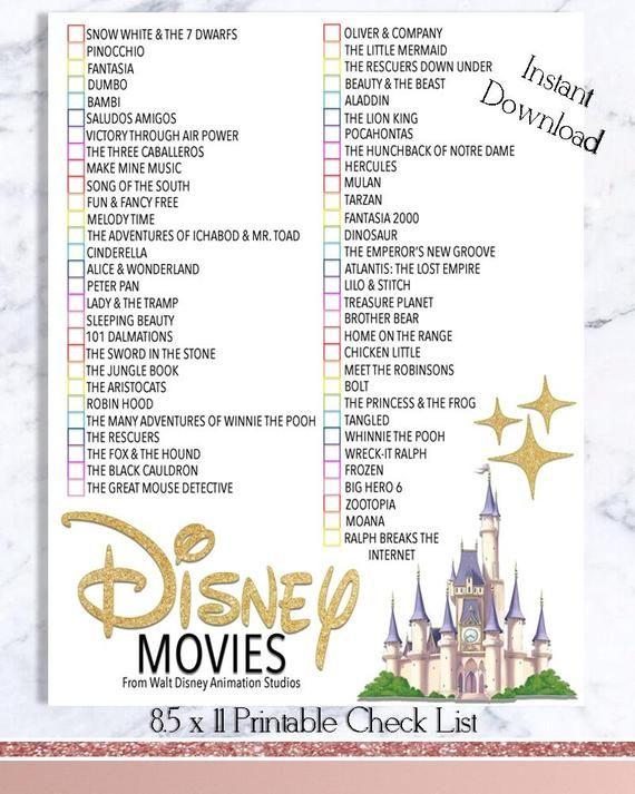 Liste de contrôle du film Disney - Walt Disney Movie Watch List - INSTANT DOWNLOAD - Films d'animation - activité pour les enfants et la famille