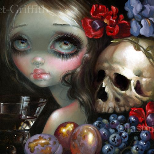 Stilleven XI: Vanitas - acrylic painting on panel, sold at Corey Helford Gallery.  Prints & canvases available at Strangeling.com!  #jasminebecketgriffh