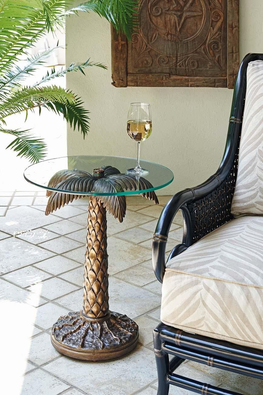 Alfresco Living Palm Tree Table With Tempered Gl Top By